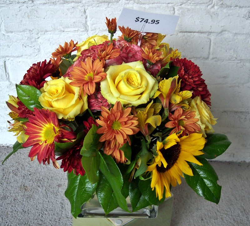 Fall rose-Sunflower centerpiece 11-12
